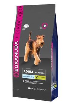 Корм Eukanuba Dog, для взрослых собак крупных пород, 15 кг10137543Корм сухой полнорационный Eukanuba для взрослых собак крупных и очень крупных пород от 1 до 6 лет(более 25 кг).Профессиональное сбалансированное питание, специально разработанное с учетом особенностей собак крупных и очень крупных пород в возрасте от 1 до 6 лет. 1. ПОДВИЖНОСТЬ: являясь источником натурального глюкозамина и хондроитинсульфата, способствует поддержанию здоровья суставов.2. ЗУБЫ: клинически доказанная эффективность в борьбе с образованием зубного камня за 28 дней. Сокращает образование зубного налета и поддерживает здоровый блеск.3. ЗАЩИТА: способствует поддержанию естественной защиты организма собак при помощи антиоксидантов, эффективность которых доказана клинически. 4. СИЛА: клинически доказанная эффективность в поддержке сухих мышц при помощи животных белков. Условия хранения: в прохладном темном месте