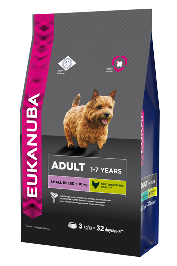 Корм Eukanuba Dog, для взрослых собак мелких пород, 3 кг6656Корм сухой полнорационный Eukanuba для взрослых собак мелких пород от 1 до 7 лет (до 10 кг).Профессиональное сбалансированное питание, специально разработанное с учетом особенностей собак мелких пород в возрасте от 1 до 7 лет.1. ФИЗИЧЕСКАЯ ФОРМА: высокий уровень содержания белка способствует поддержанию мышечной массы.2. ЗУБЫ: клинически доказанная эффективность в борьбе с образованием зубного камня за дней. Сокращает образование зубного налета и поддерживает здоровый блеск.3. ЗАЩИТА: способствует поддержанию естественной защиты организма собак при помощи антиоксидантов, эффективность которых доказана клинически.4. БЛЕСК: поддерживает здоровье кожи и красоту шерсти собак при помощи оптимального соотношения жирных кислот омега-3 и омега-6, эффективность которого доказана клинически.