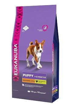 Корм Eukanuba Dog для щенков средних пород 15 кг10137713Корм сухой полнорационный Eukanuba для щенков средних пород от 1 до 12 месяцев (10 кг -25 кг).Профессиональное сбалансированное питание, специально разработанное с учетом особенностей щенков средних пород в возрасте от 1 до 12 месяцев.1. РОСТ Кальций, эффективность которого клинически доказана, способствует укреплению костей.2. РАЗВИТИЕ Докозагексаеновая кислота (ДГК), эффективность которой клинически доказана, помогает щенкам становиться более смышлеными и способными к обучению и дрессировке.3. ЗАЩИТА Антиоксиданты способствуют поддержанию естественной защиты организма щенков.4. БАЛАНС Пребиотики и сухая пульпа сахарной свеклы способствуют оптимальному пищеварению. Условия хранения: в прохладном темном месте