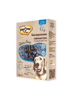 Беззерновое лакомство Мнямс для собак Grain Free с лососем 100 г0120710Дополнительное питание для взрослых и растущих собак (с 3-х месяцев). Гипоаллергенное, полувлажное, мягкое лакомство произведено методом холодного экструдирования для сохранения полезных свойств питательных веществ с использованием одного вида животного белка. Содержит более 70% мяса. Не содержит: зерновые, молочные, соевые ингредиенты, говяжьи или свиные продукты. Условия хранения: в прохладном темном месте