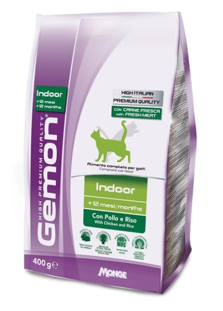 Корм Gemon Cat Indoor, для домашних кошек, с курицей и рисом, 400 г0120710Gemon Cat Indoor корм для домашних кошек с курицей и рисом. Полнорационное питание идеально подходит для взрослых домашних кошек, которым для поддержания формы требуется специальное диетическое питание. Оптимальное соотношение жирных кислот Омега-6 и Омега-3 способствует сокращению воспаления и противодействует аллергическим реакциям и необходимо для поддержания здоровья кожи и блестящей шерсти. Также содержит экстракт юкки Шидигера, которая способствует снижению газообразованию в кишечнике и уменьшает запах продуктов жизнедеятельности. Условия хранения: в прохладном темном месте