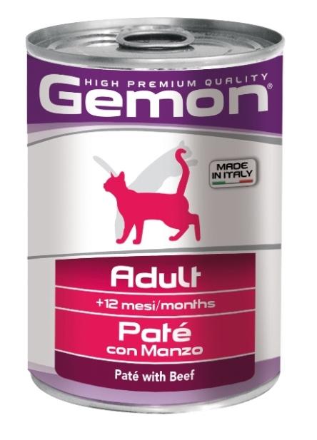 Консервы Gemon Cat, для кошек, паштет с говядиной, 400 г0120710Консервы Gemon Cat для кошек. Важно, чтобы животное всегда имело доступ к чистой, свежей воде. Взрослой кошке необходимо 250 г продукта в день, суточную норму разделить на 2-3 приема пищи.Подавать корм комнатной температуры или подогретый. Состав: сырой белок 8,5%, сырые масла и жиры 6,0%, сырая клетчатка 0,4%, сырая зола 1,5%, влажность 80%. Витамины и добавки/кг: витамин А 2500 МЕ, витамин D3 250 МЕ, витамин Е (альфа-токоферол ацетат) 10 мг. Мясо и мясные субпродукты 80% (из них говядины мин. 10%), минеральные вещества. Технологические добавки: загустители и желеобразующие компоненты. Товар сертифицирован.
