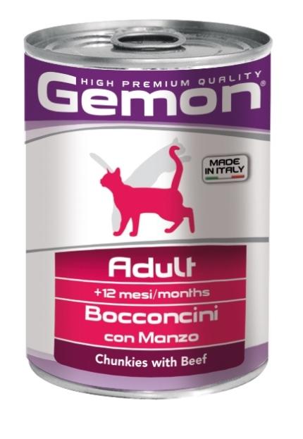 Консервы Gemon Cat для кошек, с кусочками говядины, 415 г0120710Консервы Gemon Cat для кошек. Важно, чтобы животное всегда имело доступ к чистой, свежей воде. Взрослой кошке необходимо 250 г продукта в день, суточную норму разделить на 2-3 приема пищи.Подавать корм комнатной температуры или подогретый. Состав: сырой белок 8,5%, сырые масла и жиры 6,0%, сырая клетчатка 0,5%, сырая зола 2,7%, влажность 80%. Витамины и добавки/кг: витамин А 1200 МЕ, витамин D3 160 МЕ, витамин Е (альфа-токоферол ацетат) 5 мг. Мясо и мясные субпродукты 45% (говядины 5%), злаки, яйца, минеральные вещества.Технологические добавки: загустители и желеобразующие компоненты. Товар сертифицирован.
