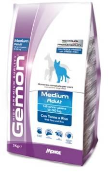 Корм Gemon Dog Medium, для взрослых собак средних пород, тунец с рисом, 3 кг701115Полнорационный корм для собак на основе тунца и риса. Специально разработан для ежедневного кормления взрослых собак средних пород (12-30 кг) с нормальной физической активностью в возрасте 1-8 лет.