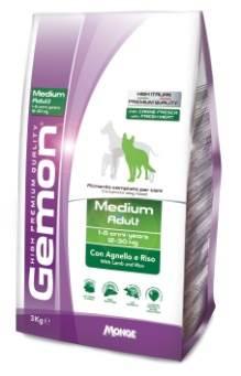 Корм Gemon Dog Medium, для взрослых собак средних пород, ягненок с рисом, 3 кг0120710Полнорационный корм для собак на основе мяса ягненка и риса. Специально разработан для ежедневного кормления взрослых собак средних пород (12-30 кг) с нормальной физической активностью в возрасте 1-8 лет.