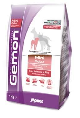 Корм Gemon Dog Mini, для взрослых собак мелких пород, лосось с рисом, 1 кг0120710Полнорационный корм для собак на основе лосося и риса. Специально разработан для ежедневного кормления взрослых собак мелких пород (2-10 кг) с нормальной физической активностью в возрасте 1-8 лет.