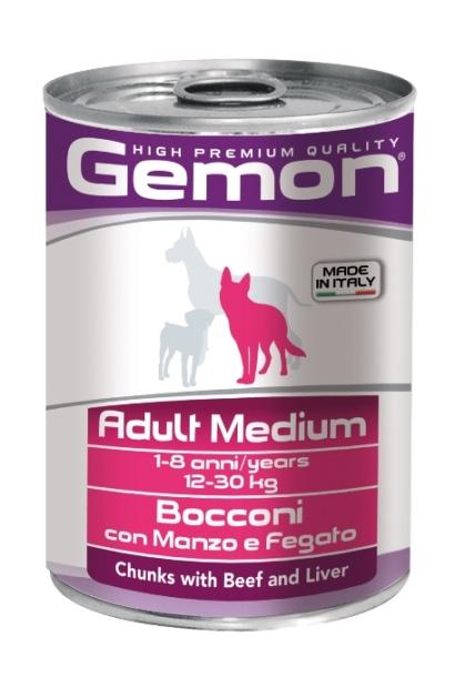 Консервы Gemon Dog Medium, для собак средних пород, кусочки говядины с печенью, 415 г0120710Гарантированный анализ: Сырой белок 8,5%, сырые масла и жиры 6,0%, сырая клетчатка 0,5%, сырая зола 2,7%, влажность 80%.Витамины и добавки/кг: витамин А 2500 МЕ, витамин D3 250 МЕ, витамин Е (альфа-токоферол ацетат) 10 мг. Мясо и мясные субпродукты 45% (говядина 5%, печень 5%), злаки, яйца, минеральные вещества. Технологические добавки: загустители и желеобразующие компоненты. Подавать корм комнатной температуры или подогретый. Важно, чтобы животное всегда имело доступ к чистой, свежей воде. Взрослой кошке необходимо 400 г продукта в день, суточную норму разделить на 2-3 приема пищи.