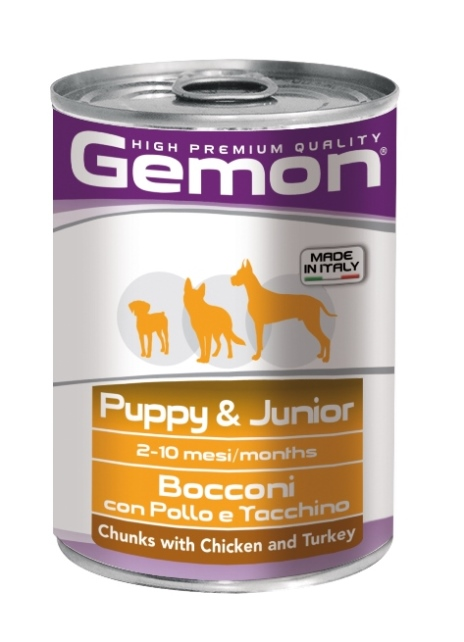Консервы Gemon Dog, для щенков, кусочки курицы с индейкой, 415 г0120710Гарантированный анализ: сырой белок 8,0%, сырые масла и жиры 7,0%, сырая клетчатка 0,5%, сырая зола 2,0%, влажность 80%.Витамины и добавки/кг: витамин А 3000 МЕ, витамин D3 200 МЕ, витамин Е (альфа-токоферол ацетат) 6 мг.Мясо и мясные субпродукты 45% (курица 14%, индейка 12%), злаки, яйца, минеральные вещества. Технологические добавки: загустители и желеобразующие компоненты. Подавать корм комнатной температуры или подогретый. Важно, чтобы животное всегда имело доступ к чистой, свежей воде. Суточная норма составляет 40-50 г продукта на каждый кг веса животного.