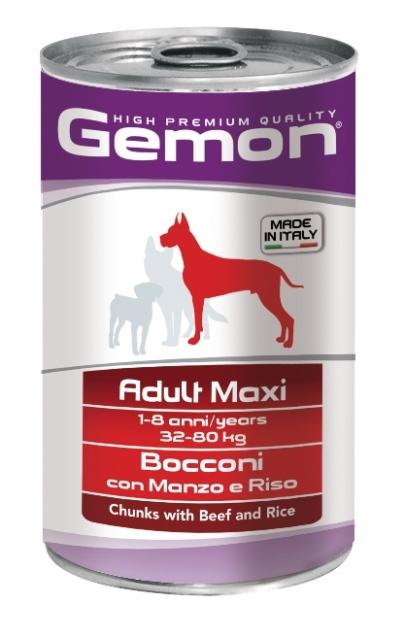 Консервы Gemon Dog Maxi для собак крупных пород кусочки говядины с рисом 1250 г0120710Гарантированный анализ: Сырой белок 8,5%, сырые масла и жиры 6%, сырая клетчатка 0,5%, сырая зола 2,7%, влажность 80%. Витамины и добавки/кг: витамин А 2500 МЕ, витамин D3 250 МЕ, витамин Е (альфа-токоферол ацетат) 10 мг. Мясо и мясные субпродукты 45% (говядина 5%), злаки (рис 4,2%), яйца, минеральные вещества.Технологические добавки: загустители и желеобразующие компоненты. Подавать корм комнатной температуры или подогретый. Важно, чтобы животное всегда имело доступ к чистой, свежей воде. Суточная норма для взрослых собак крупных пород (32-80 кг) составляет 1800-3700 г продукта, порция должна быть разделена на 2-3 приема пищи. Условия хранения: в прохладном темном месте