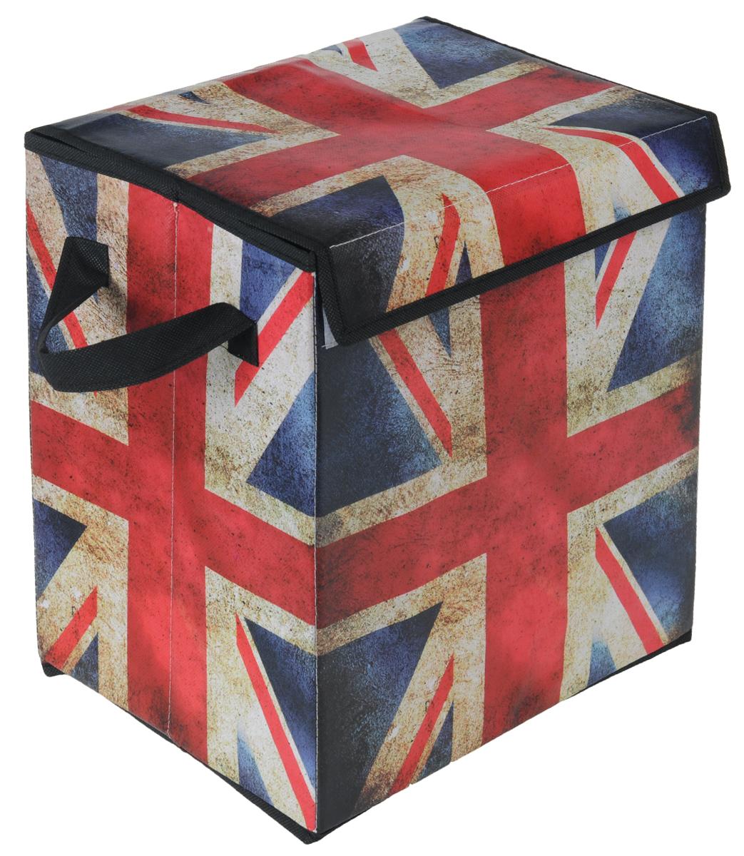 Кофр для хранения El Casa Британский флаг, складной, 30 х 22 х 22 см171138Складной кофр El Casa Британский флаг, выполненный из МДФ и экокожи, понравится всем ценителям оригинальных вещей. Благодаря удобной конструкции складывается и раскладывается одним движением. В сложенном виде изделие занимает минимум места, его легко хранить и перевозить. В таком кофре можно хранить всевозможные предметы: книги, игрушки, рукоделие. Яркий дизайн привнесет в ваш интерьер неповторимый шарм.Размер кофра (в собранном виде): 30 см х 22 см х 22 см.