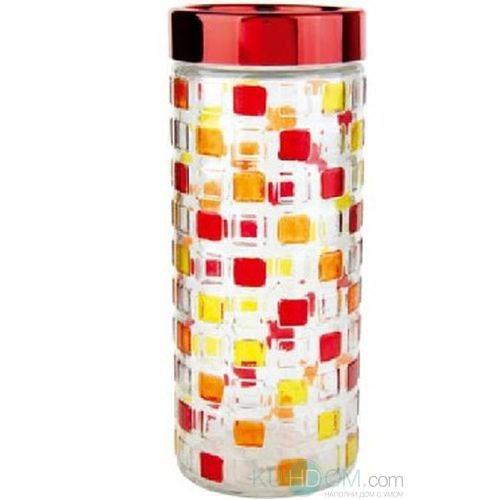 Банка для сыпучих продуктов Bohmann Мозаика, цвет: прозрачный, красный, желтый, 2,4 лVT-1520(SR)Банка Bohmann Мозаика изготовлена из стекла. Емкость снабжена пластиковой крышкой, которая плотно закрывается, дольше сохраняя аромат и свежесть содержимого. Банка подходит для хранения сыпучих продуктов: круп, специй, сахара, соли. Такая банка станет полезным приобретением и пригодится на любой кухне.Диаметр (по верхнему краю): 10,5 см.Высота (без учета крышки): 27 см.