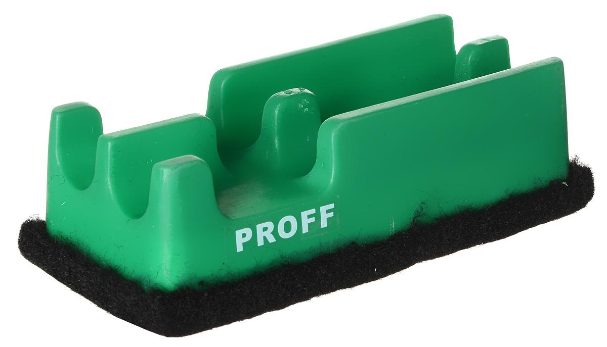 Proff Губка для офисных досок цвет зеленыйFS-54109Губка для офисных досок Proff - неотъемлемый атрибут любого офиса. Она предназначена специально для маркерных и меловых досок. Губка имеет прямоугольную форму. Верхняя ее часть изготовлена из пластика зеленого цвета и оснащена двумя отсеками-держателями для маркеров. Стирающий элемент выполнен из войлока.