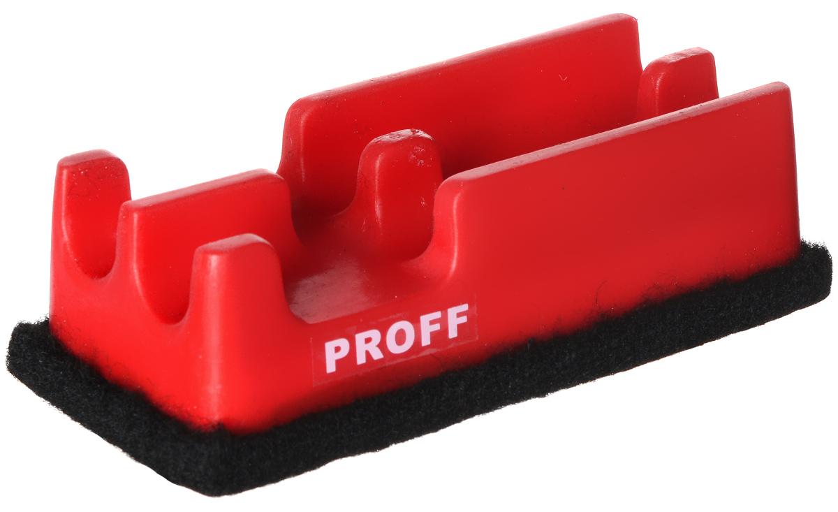 Proff Губка для офисных досок цвет красныйFS-00897Губка для офисных досок Proff - неотъемлемый атрибут любого офиса. Она предназначена специально для маркерных и меловых досок. Губка имеет прямоугольную форму. Верхняя ее часть изготовлена из пластика красного цвета и оснащена двумя отсеками-держателями для маркеров. Стирающий элемент выполнен из войлока.