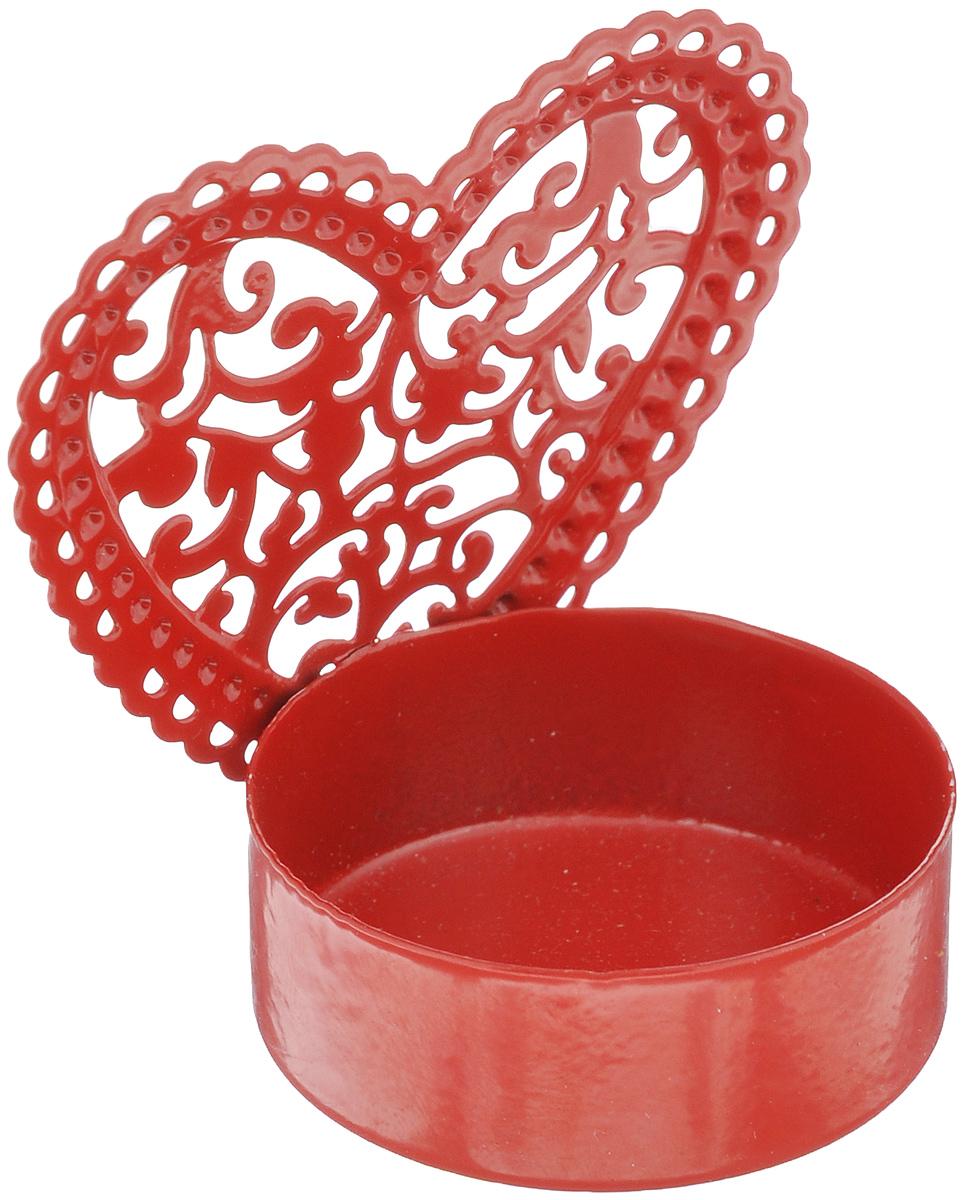Подсвечник декоративный Феникс-презент Сердце, цвет: красный337465Декоративный подсвечник Феникс-презент Сердце изготовлен из металла. Подсвечник предназначен для одной чайной свечи. Оригинальный и изысканный, такойподсвечник позволит украсить интерьер дома или рабочего кабинета оригинальным образом.Вы можете поставить подсвечник в любом месте, где он будет удачно смотретьсяи радовать глаз. Кроме того - это отличный вариант подарка для ваших близких идрузей. Диаметр отверстия для свечи: 4 см.