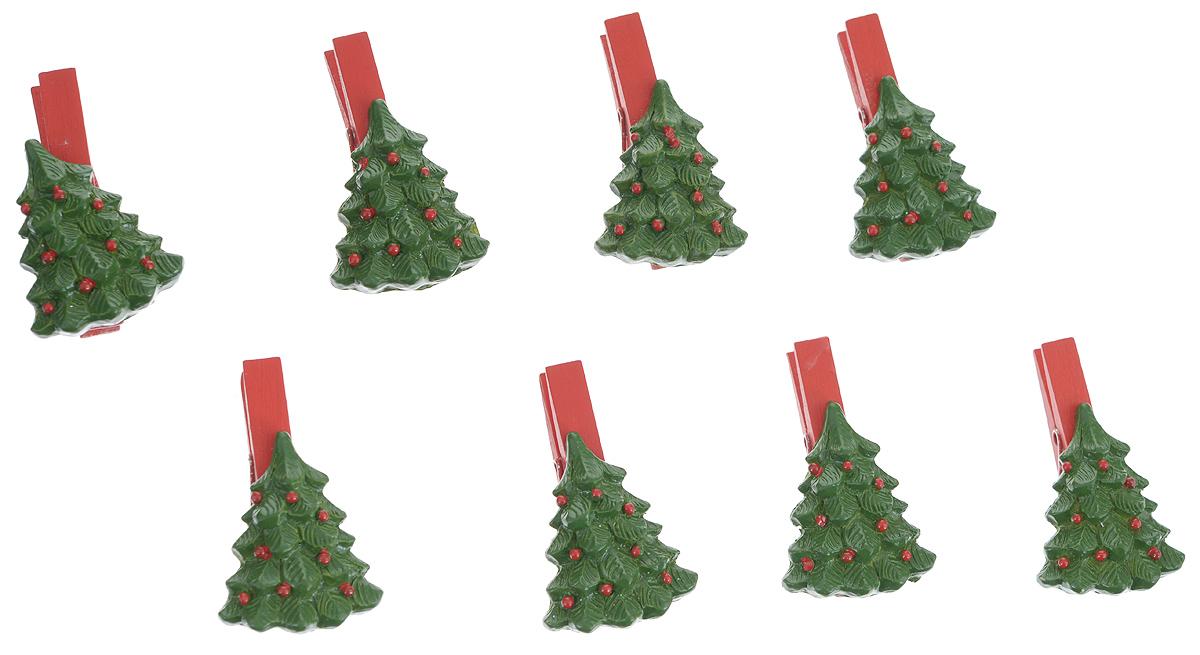 Набор декоративных прищепок Феникс-презент Елочки, 8 шт38264Набор Феникс-презент Елочки состоит из 8 декоративных прищепок, выполненных из дерева. Прищепки оформлены декоративными фигурками из полирезины в виде зеленых елочек. Изделия используются для развешивания стикеров на веревке, маленьких игрушек, а оригинальность и веселые цвета прищепок будут радовать глаз и поднимут настроение.Размер прищепки: 5 см х 2 см х 3 см.