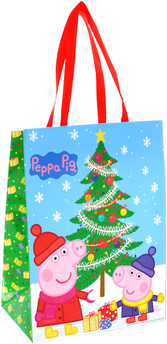 Peppa Pig Пакет подарочный Пеппа зимой 23 см х 18 см х 10 см38551Яркий подарочный пакет Пеппа зимой с очаровательными героями мультфильма Свинка Пеппа празднично украсит ваш новогодний подарок. Для удобной переноски на пакете имеются две атласные ручки.Подарок, преподнесенный в оригинальной упаковке, всегда будет самым эффектным и запоминающимся. Окружите близких людей вниманием и заботой, вручив презент в нарядном, праздничном оформлении.
