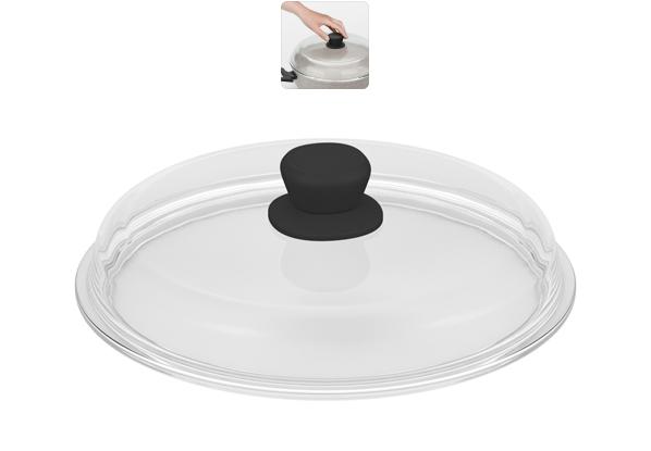 Крышка стеклянная Nadoba Gela. Диаметр 28 см751111Крышка Nadoba Gela изготовлена из закаленного боросиликатного стекла. Изделие не имеет обода. Крышка имеет удобную ненагревающую ручку из пластика с силиконовым покрытием, предотвращающим выскальзывание из рук. Такая крышка позволит следить за процессом приготовления пищи без потери тепла. Она плотно прилегает к краям посуды, сохраняя аромат блюд.