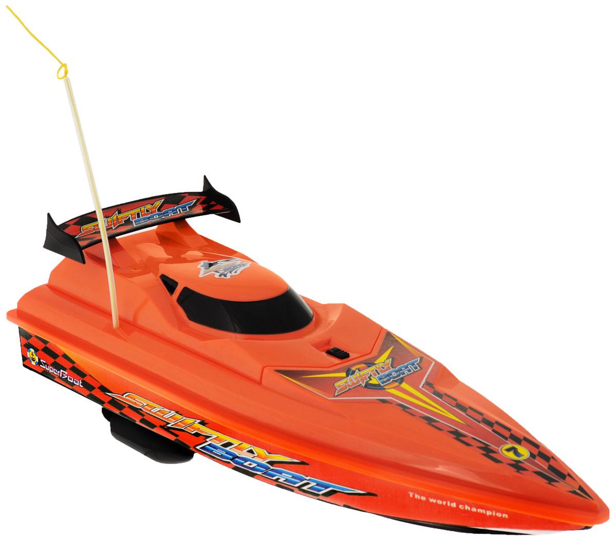 """Радиоуправляемый гоночный катер LK-Toys """"Чемпионат: Swiftly Boat"""" - необычная водная игрушка, которая понравится и детям, и взрослым. Игрушечный спортивный катер изготовлен из прочного и качественного пластика, что успешно позволяет сделать конструкцию корпуса максимально обтекаемой, а также защитить от попадания воды все внутренние компоненты. Управление обеспечивается при помощи специального пульта дистанционного управления, который позволяет без проблем контролировать модель на расстояниях до 25 метров. Функции управления: вперед, назад, вправо, влево. Радиоуправляемый гоночный катер LK-Toys """"Чемпионат: Swiftly Boat"""" обеспечит многие часы увлекательных игр на воде! В комплекте: катер, пульт управления, аккумулятор, зарядное устройство, 2 запасных винта. Пульт управления работает на частоте 40 MHz. Для работы пульта управления необходимы 2 батарейки типа АА (не входят в комплект)."""