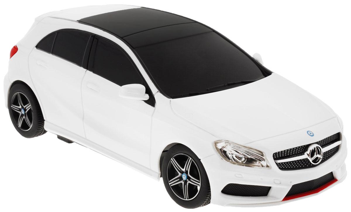 """Радиоуправляемая модель Rastar """"Mercedes-Benz A-Class"""" станет отличным подарком любому мальчику! Все дети хотят иметь в наборе своих игрушек ослепительные, невероятные и крутые автомобили на радиоуправлении. Тем более, если это автомобиль известной марки с проработкой всех деталей, удивляющий приятным качеством и видом. Одной из таких моделей является автомобиль на радиоуправлении Rastar """"Mercedes-Benz A-Class"""". Это точная копия настоящего авто в масштабе 1:24. Возможные движения: вперед, назад, вправо, влево, остановка. Имеются световые эффекты. Пульт управления работает на частоте 27 MHz. Для работы игрушки необходимы 3 батарейки типа АА (не входят в комплект). Для работы пульта управления необходимы 2 батарейки типа АА (не входят в комплект)."""