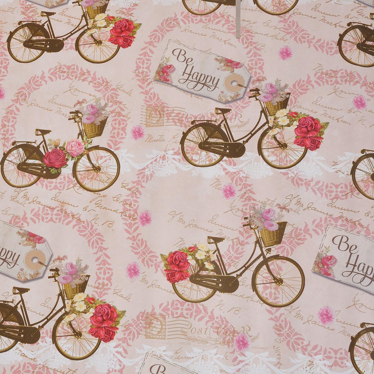 Бумага упаковочная Велосипед, 100 х 70 см