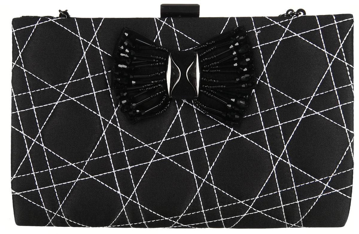 Сумка вечерняя Fabretti, цвет: черный. WNC10066-323008Элегантная сумка Fabretti выполнена из полиэстера. Изделие закрывается на застежку-защелку. Сумка оформлена оригинальной прострочкой и бантом с металлическими вставками и вышитым бисером. Внутри - одно большое отделение и один накладной карман. Ручка выполнена в виде оригинальной цепочки.