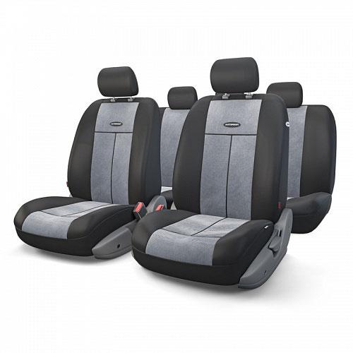 Авточехлы Autoprofi TT, цвет: черный, серый, 9 предметов. TT-902V BK/D.GYст18фАвтомобильные чехлы Autoprofi TT изготавливаются из высококачественного полиэстера со вставками из поролона, обеспечивающего сцепление с сиденьем. Мягкие чехлы являются отличным дополнением салона любого автомобиля. Изделия придают автомобильному интерьеру современные и солидные черты.Универсальная конструкция подходит для большинства автомобильных сидений. Подходят для автомобилей с боковыми подушками безопасности (распускаемый шов).Специальные молнии, расположенные в чехлах спинки заднего ряда, позволяют использовать чехлы на автомобилях с различными пропорциями складывания заднего ряда.Комплектация: 5 подголовников, 2 чехла сидений переднего ряда, 1 спинка заднего ряда, 1 сиденье заднего ряда.