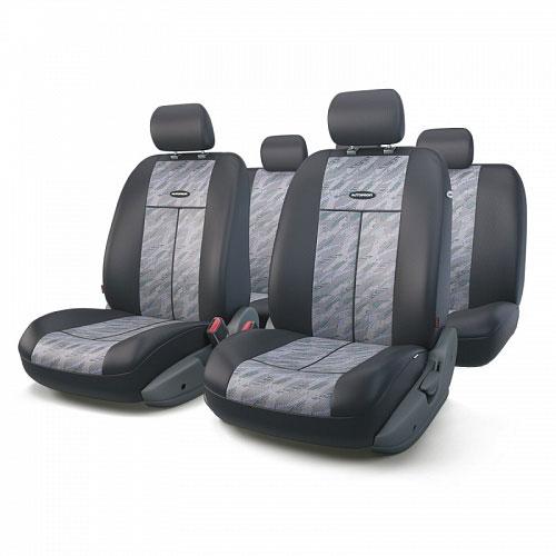Авточехлы Autoprofi TT, цвет: черный, серый, 9 предметов. TT-902J CLOUDCA-3505Автомобильные чехлы Autoprofi TT изготавливаются из высококачественного полиэстера со вставками из поролона, обеспечивающего сцепление с сиденьем. Мягкие чехлы являются отличным дополнением салона любого автомобиля. Изделия придают автомобильному интерьеру современные и солидные черты.Универсальная конструкция подходит для большинства автомобильных сидений. Подходят для автомобилей с боковыми подушками безопасности (распускаемый шов).Специальные молнии, расположенные в чехлах спинки заднего ряда, позволяют использовать чехлы на автомобилях с различными пропорциями складывания заднего ряда.Комплектация: 5 подголовников, 2 чехла сидений переднего ряда, 1 спинка заднего ряда, 1 сиденье заднего ряда.