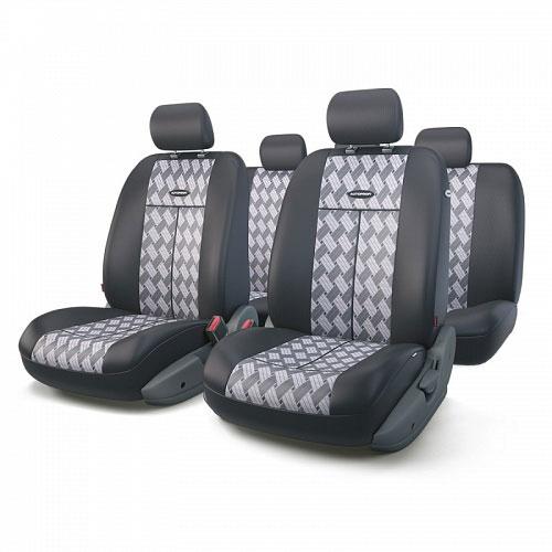 Авточехлы Autoprofi TT, цвет: черный, серый, 9 предметов. TT-902J CHESSFS-80423Автомобильные чехлы Autoprofi TT изготавливаются из высококачественного полиэстера со вставками из поролона, обеспечивающего сцепление с сиденьем. Мягкие чехлы являются отличным дополнением салона любого автомобиля. Изделия придают автомобильному интерьеру современные и солидные черты.Универсальная конструкция подходит для большинства автомобильных сидений. Подходят для автомобилей с боковыми подушками безопасности (распускаемый шов).Специальные молнии, расположенные в чехлах спинки заднего ряда, позволяют использовать чехлы на автомобилях с различными пропорциями складывания заднего ряда.Комплектация: 5 подголовников, 2 чехла сидений переднего ряда, 1 спинка заднего ряда, 1 сиденье заднего ряда.