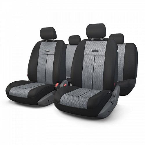 Авточехлы Autoprofi TT, цвет: черный, серый, 9 предметов. TT-902M BK/D.GY21395599Автомобильные чехлы Autoprofi TT изготавливаются из высококачественного полиэстера со вставками из поролона, обеспечивающего сцепление с сиденьем. Мягкие чехлы являются отличным дополнением салона любого автомобиля. Изделия придают автомобильному интерьеру современные и солидные черты.Универсальная конструкция подходит для большинства автомобильных сидений. Подходят для автомобилей с боковыми подушками безопасности (распускаемый шов).Специальные молнии, расположенные в чехлах спинки заднего ряда, позволяют использовать чехлы на автомобилях с различными пропорциями складывания заднего ряда.Комплектация: 5 подголовников, 2 чехла сидений переднего ряда, 1 спинка заднего ряда, 1 сиденье заднего ряда.