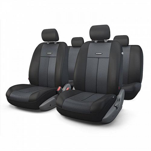 Авточехлы Autoprofi TT, цвет: черный, темно-серый, 9 предметов. TT-902M BK/BK98298130Автомобильные чехлы Autoprofi TT изготавливаются из высококачественного полиэстера со вставками из поролона, обеспечивающего сцепление с сиденьем. Мягкие чехлы являются отличным дополнением салона любого автомобиля. Изделия придают автомобильному интерьеру современные и солидные черты.Универсальная конструкция подходит для большинства автомобильных сидений. Подходят для автомобилей с боковыми подушками безопасности (распускаемый шов).Специальные молнии, расположенные в чехлах спинки заднего ряда, позволяют использовать чехлы на автомобилях с различными пропорциями складывания заднего ряда.Комплектация: 5 подголовников, 2 чехла сидений переднего ряда, 1 спинка заднего ряда, 1 сиденье заднего ряда.