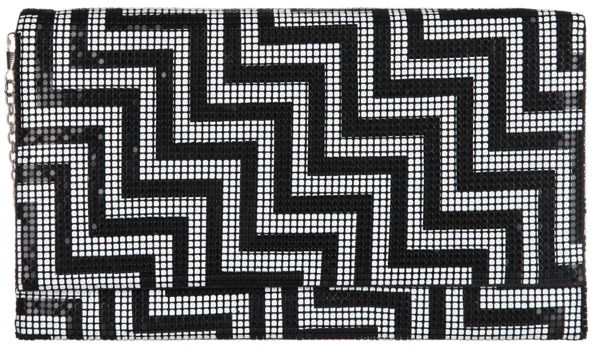 Клатч женский Модные истории, цвет: черный, белый. 3/0224L39845800Стильный клатч Модные истории выполнен из металлической кольчуги и текстиля. Изделие оформлено оригинальным геометрическим рисунком.Клатч закрывается по принципу конверта на магнитную кнопку. Внутри изделие содержит вместительное отделение, в котором предусмотрен врезной карман на молнии. Клатч оснащен съемным плечевым ремнем в виде тонкой цепочки.Оригинальный аксессуар позволит вам завершить образ и быть неотразимой.