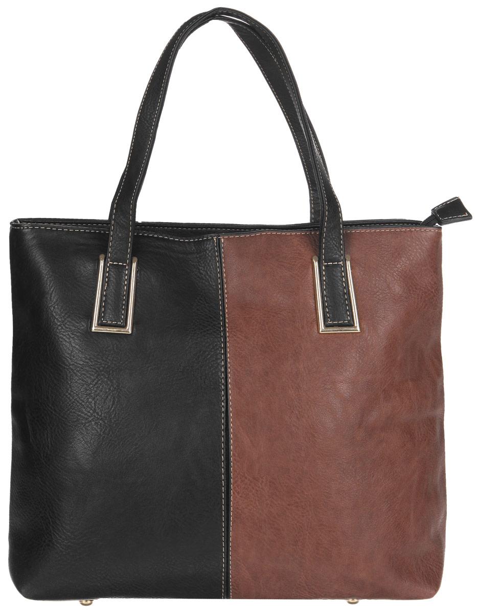 Сумка женская Flioraj, цвет: черный, коричневый. 35205065-001Стильная сумка Flioraj выполнена из экокожи, дополнена вставками из экокожи контрастных оттенков и оформлена контрастной строчкой.Изделие содержит одно отделение, которое закрывается на молнию, внутри расположены два накладных кармана для телефона и мелочей, врезной карман на молнии и карман-средник на молнии. Снаружи, в тыльной стенке сумки расположен врезной карман на молнии. Изделие дополнено двумя практичными ручками с металлической фурнитурой. Дно сумки оснащено металлическими ножками.Сумка Flioraj прекрасно дополнит образ и подчеркнет ваш неповторимый стиль.
