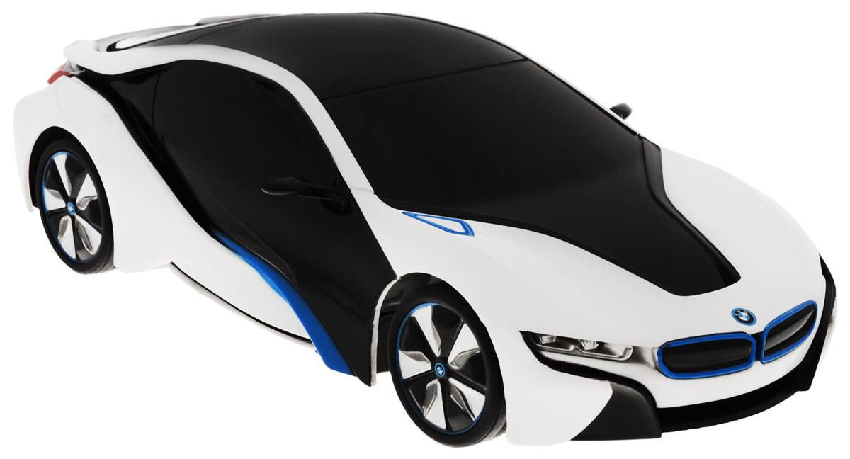 """Радиоуправляемая модель Rastar """"BMW I8"""" станет отличным подарком любому мальчику! Все дети хотят иметь в наборе своих игрушек ослепительные, невероятные и крутые автомобили на радиоуправлении. Тем более, если это автомобиль известной марки с проработкой всех деталей, удивляющий приятным качеством и видом. Одной из таких моделей является автомобиль на радиоуправлении Rastar """"BMW I8"""". Это точная копия настоящего авто в масштабе 1:24. Авто обладает неповторимым провокационным стилем и спортивным характером. Потрясающая маневренность, динамика и покладистость - отличительные качества этой модели. Возможные движения: вперед, назад, вправо, влево, остановка. Имеются световые эффекты. Пульт управления работает на частоте 27 MHz. Для работы игрушки необходимы 3 батарейки типа АА (не входят в комплект). Для работы пульта управления необходимы 2 батарейки типа АА (не входят в комплект)."""