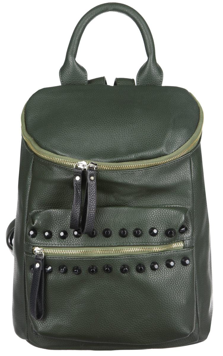 Рюкзак женский Ors Oro, цвет: темно-зеленый. D-13871069с-2Стильный женский рюкзак Ors Oro выполнен из экокожи с зернистой фактурой, оформлен металлической фурнитурой.Изделие содержит одно отделение, закрывающееся на металлическую застежку-молнию. Внутри расположены два накладных кармана для телефона и мелочей и врезной карман на молнии. Снаружи, в задней стенке расположен врезной карман на застежке-молнии. На фронтальной стенке расположен объемный накладной карман на молнии, декорированный шипами. Изделие дополнено практичной петлей для подвешивания и двумя лямками, длина которых регулируется при помощи пряжек.Рюкзак Ors Oro прекрасно дополнит образ и подчеркнет ваш стиль.