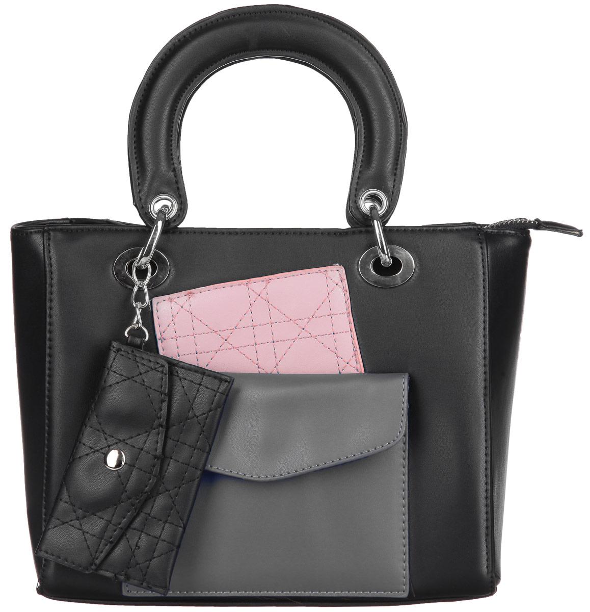 Сумка женская Ors Oro, цвет: черный, розовый, хаки. D-12971069с-2Стильная сумка Ors Oro выполнена из экокожи, оформлена вставками из искусственной кожи контрастных оттенков и дополнена подвеской с декоративным кошельком.Изделие содержит одно отделение, которое закрывается на молнию, внутри расположены два накладных кармана для телефона и мелочей, врезной карман на молнии. Снаружи, на лицевой стенке сумки расположен накладной кармана на магнитной кнопке. Изделие дополнено двумя практичными ручками с металлической фурнитурой. Дно сумки оснащено металлическими ножками.Сумка Ors Oro прекрасно дополнит образ и подчеркнет ваш неповторимый стиль.