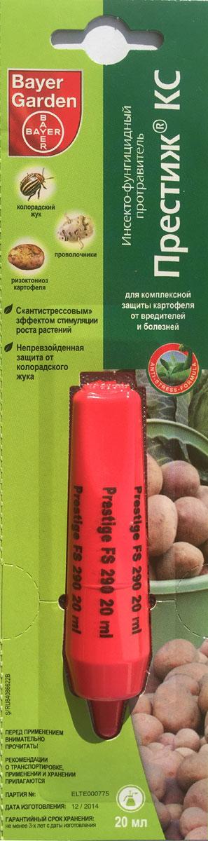 Средство Bayer Garden Престиж КС, для комплексной защиты картофеля от вредителей и болезней, 20 мл6.295-875.0Средство Bayer Garden Престиж КС - это уникальный оригинальный продукт компании Bayer Garden, у которого в России нет аналогов. Он объединяет в себе чрезвычайно эффективную защиту картофеля от вредителей и болезней одновременно с антистрессовым эффектом стимулирования растений. Препарат предназначен для обработки клубней картофеля перед посадкой, что предотвращает распространение таких вредителей, как колорадский жук, проволочники, личинки хрущей, цикадки, тли, трипсы, моль, блошки. При этом контроль над вредителями происходит с самого начала вегетации и как минимум до конца цветения картофеля. Фунгицидное действие препарата направлено на защиту картофеля от ризоктониоза, при хорошем дополнительном эффекте - против разных видов парши и мокрых гнилей. Состав: имидаклоприд - 140 г /л, пенцикурон - 150 г/л. Препаративная форма: концентрат суспензии. Класс опасности: 3 класс (умеренно опасное соединение). Объем: 20 мл.Гарантийный срок хранения: не менее 3-х лет с даты изготовления.Регламент применения: 70-100 мл / 1 л воды.Расход рабочей жидкости: 1 л / 100 кг.
