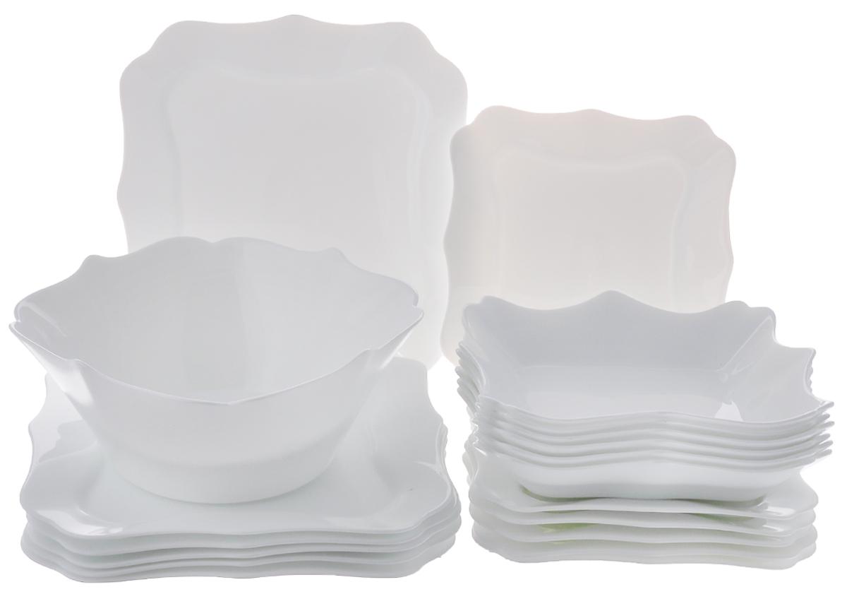 Набор столовый Luminarc Authentic, цвет: белый, 19 предметов115510Столовый набор Luminarc Authentic состоит из 6 суповых тарелок, 6 обеденных тарелок, 6 десертных тарелок и глубокого салатника. Изделия выполнены из ударопрочного стекла, имеют классический монохромный дизайн и красивую квадратную форму с резными краями. Посуда отличается прочностью, гигиеничностью и долгим сроком службы, она устойчива к появлению царапин и резким перепадам температур. Такой набор прекрасно подойдет как для повседневного использования, так и для праздников или особенных случаев. Столовый набор Luminarc - это не только яркий и полезный подарок для родных и близких, это также великолепное дизайнерское решение для вашей кухни или столовой. Изделия можно мыть в посудомоечной машине и использовать в СВЧ-печи. Размер суповой тарелки: 22 см х 22 см. Размер обеденной тарелки: 26 см х 26 см. Размер десертной тарелки: 20,5 см х 20,5 см. Размер салатника: 24 см х 24 см х 10 см.