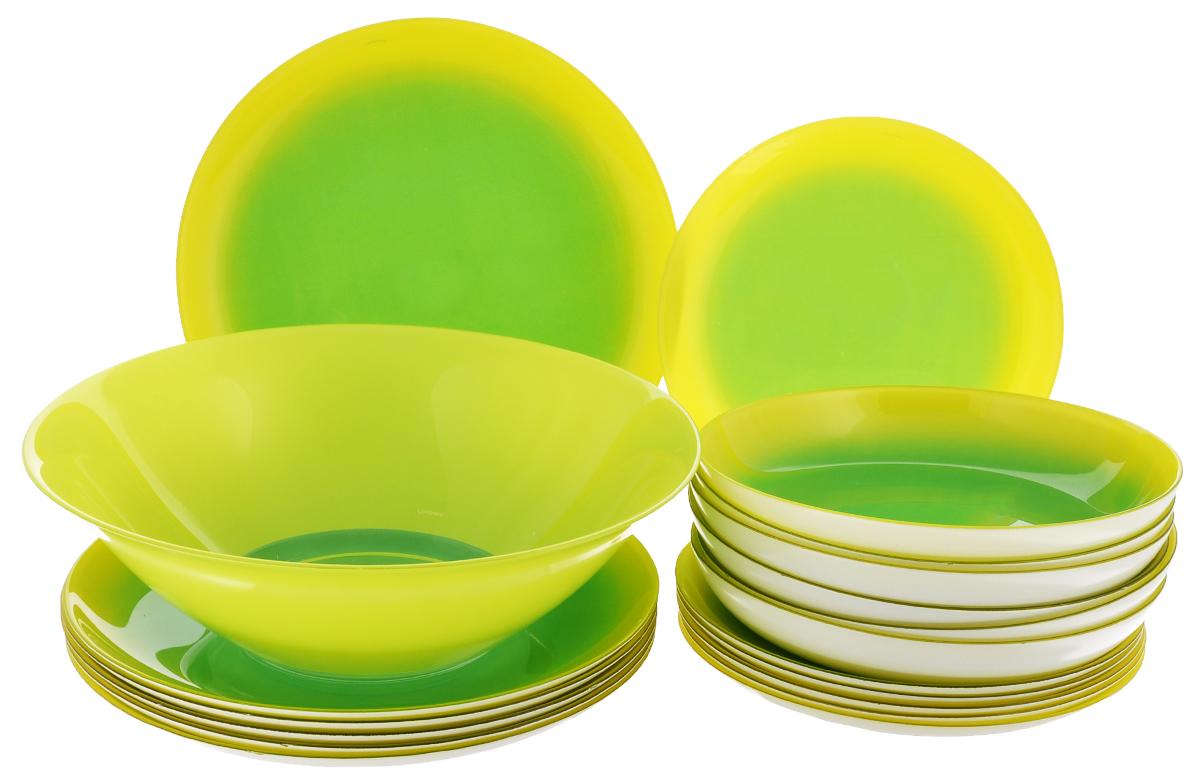 Набор столовый Luminarc Mint Fizz, 19 предметов115510Столовый набор Luminarc Mint Fizz из серии Color Vibrance состоит из 6 суповых тарелок, 6 обеденных тарелок, 6 десертных тарелок и глубокого салатника. Изделия выполнены из ударопрочного стекла, имеют яркий дизайн и классическую круглую форму. Посуда отличается прочностью, гигиеничностью и долгим сроком службы, она устойчива к появлению царапин и резким перепадам температур. Серия посуды Color Vibrance - это инновационная линия стеклянной посуды, в декоре которой использованы только органические красители для создания жизнерадостных цветов, которые сохраняют свою яркость при ежедневном использовании. Цвета не содержат свинца и кадмия, что делает их совершенно безопасными для вашего здоровья при контакте с пищей. Декоры сохраняют блеск и интенсивность цвета от мойки к мойке. Такой набор прекрасно подойдет как для повседневного использования, так и для праздников или особенных случаев. Столовый набор Luminarc - это не только яркий и полезный подарок для родных и близких, это также великолепное дизайнерское решение для вашей кухни или столовой. Изделия можно мыть в посудомоечной машине и использовать в СВЧ-печи. Диаметр суповой тарелки: 20 см. Диаметр обеденной тарелки: 25 см. Диаметр десертной тарелки: 20,5 см. Диаметр салатника: 27 см. Высота стенки салатника: 8 см.