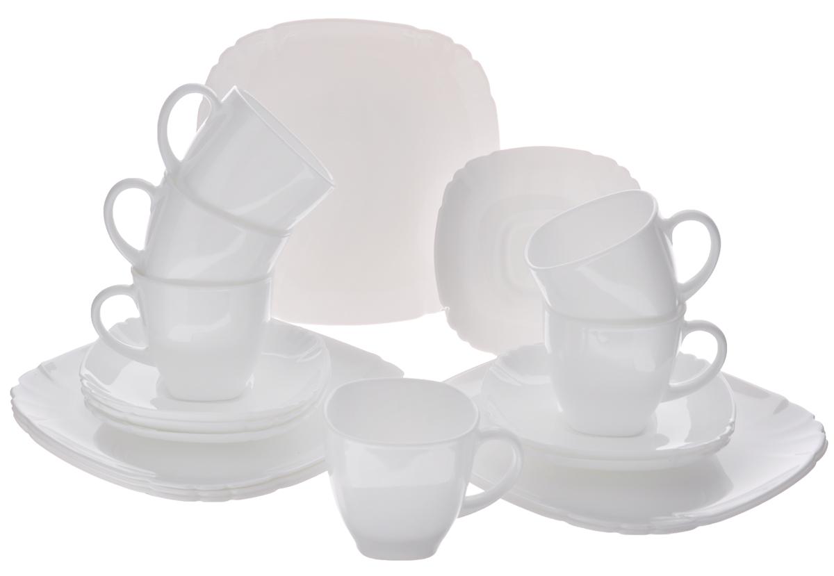 Набор десертный Luminarc Lotusia, 18 предметов31700002Десертный набор Luminarc Lotusia состоит из 6 десертных тарелок, 6 блюдец и 6 чашек. Изделия выполнены из ударопрочного стекла, имеют лаконичный дизайн и квадратную форму с закругленными краями. Посуда отличается прочностью, гигиеничностью и долгим сроком службы, она устойчива к появлению царапин и резким перепадам температур. Такой набор прекрасно подойдет как для повседневного использования, так и для праздников или особенных случаев. Десертный набор Luminarc - это не только яркий и полезный подарок для родных и близких, это также великолепное дизайнерское решение для вашей кухни или столовой. Изделия можно мыть в посудомоечной машине и использовать в СВЧ-печи. Размер десертной тарелки: 19,5 см х 19,5 см. Размер блюдца: 14 см х 14 см. Объем чашки: 220 мл. Размер чашки: 7,5 см х 7,5 см х 7,5 см.