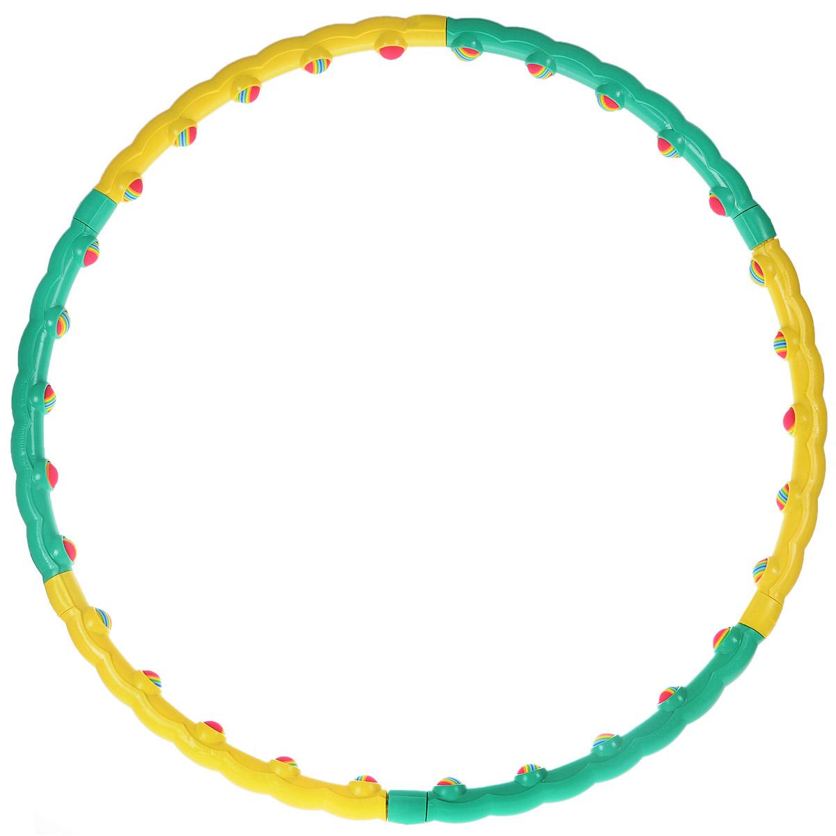 Обруч массажный Хула-хуп с неопреновыми шариками, разборныйSF 0085Массажный обруч Хула-хуп изготовлен из пластика. Он имеет 30 мягких неопреновых шариков, которые оказывают массажный эффект. Форма обруча стимулирует акупунктурные точки поясницы и обеспечивает массирующий эффект, помогает избавиться от излишнего веса. Обруч помогает сохранить тело подтянутым и стимулирует работу кишечника. Характеристики: Материал:пластик. Диаметр (внутренний):90 см. Размер упаковки:53 см х 23,5 х 10 см. Производитель:Тайвань. Артикул:HH-01.