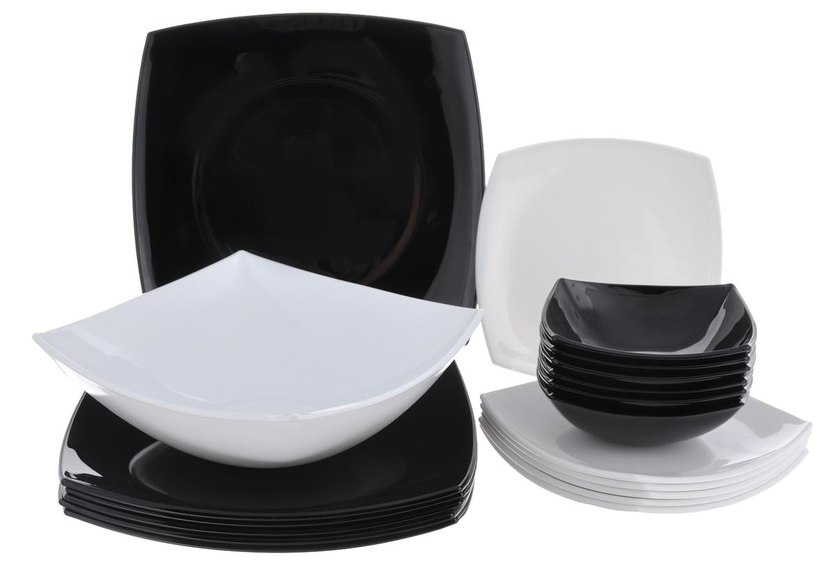 Набор столовой посуды Luminarc Quadrato, 19 предметов115510Набор Luminarc Quadrato состоит из 6 суповых тарелок, 6 обеденныхтарелок, 6 десертных тарелок и глубокого салатника. Изделия выполнены изударопрочного стекла, имеют яркий и стильный дизайн и квадратную форму. Посуда отличается прочностью,гигиеничностью и долгим сроком службы, она устойчива к появлению царапин ирезким перепадам температур. Такой набор прекрасно подойдет как для повседневного использования, так идля праздников или особенных случаев. Набор столовой посуды Luminarc Quadrato - это не только яркий иполезный подарок для родных и близких, а также великолепное дизайнерскоерешение для вашей кухни или столовой. Можно мыть в посудомоечной машине и использовать в микроволновой печи.Размер суповой тарелки: 14 см х 14 см. Высота суповой тарелки: 5 см.Размер обеденной тарелки: 27 см х 27 см. Высота обеденной тарелки: 3,5 см. Размер десертной тарелки: 19 см х 19 см. Высота десертной тарелки: 2,5 см. Размер салатника: 24 см х 24 см. Высота стенки салатника: 8,5 см.