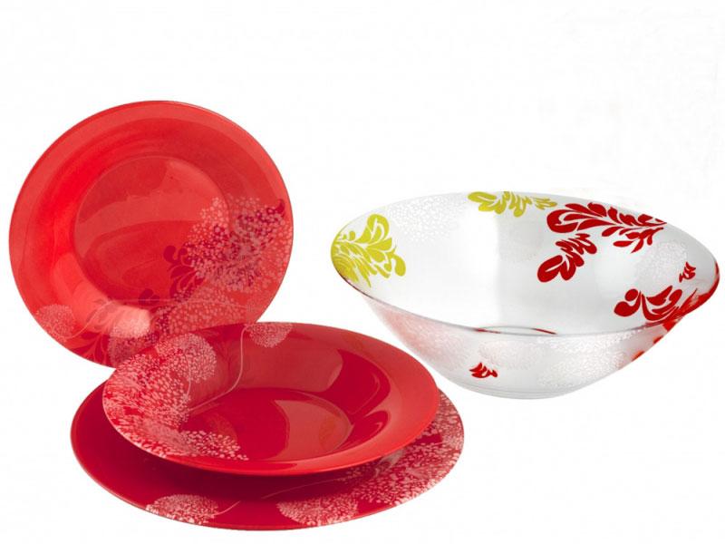 Набор столовой посуды Luminarc Piume, 19 предметовVT-1520(SR)Набор Luminarc Piume состоит из 6 суповых тарелок, 6 обеденных тарелок, 6 десертных тарелок и глубокого салатника. Изделия выполнены из ударопрочного стекла, имеют яркий дизайн с рисунком по краям и классическую круглую форму. Посуда отличается прочностью, гигиеничностью и долгим сроком службы, она устойчива к появлению царапин и резким перепадам температур. Такой набор прекрасно подойдет как для повседневного использования, так и для праздников или особенных случаев. Набор столовой посуды Luminarc Piume - это не только яркий и полезный подарок для родных и близких, а также великолепное дизайнерское решение для вашей кухни или столовой. Можно мыть в посудомоечной машине и использовать в микроволновой печи. Диаметр суповой тарелки: 21 см. Высота суповой тарелки: 3 см.Диаметр обеденной тарелки: 24,5 см. Высота обеденной тарелки: 1,5 см. Диаметр десертной тарелки: 20 см. Высота десертной тарелки: 1 см. Диаметр салатника: 27 см. Высота стенки салатника: 8,5 см.