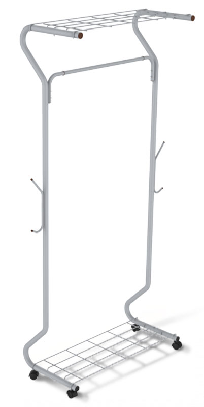 Вешалка напольная Sheffilton SHT-WR546, цвет: светло-серый, черный, 78 см х 46 см х 170 смRG-D31SМногофункциональная гардеробная вешалка Sheffilton SHT-WR546 - отличное решение для хранения вещей. Предусмотрены полка для обуви и головных уборов. Имеется штанга для вешалок-плечиков и крючки для сумок. Вешалка выполнена из металлической трубы и пластиковой фурнитуры.Порошковая окраска изделия стойка к механическим повреждениям. Изделие оснащено колесиками для удобства транспортировки.Диаметр трубки: 2,8 см.Толщина трубки: 0,8 мм.Расстояние от пола до штанги: 145 см.Максимальная нагрузка на штангу: 25 кг.Максимальная нагрузка на вешалку: 50 кг.