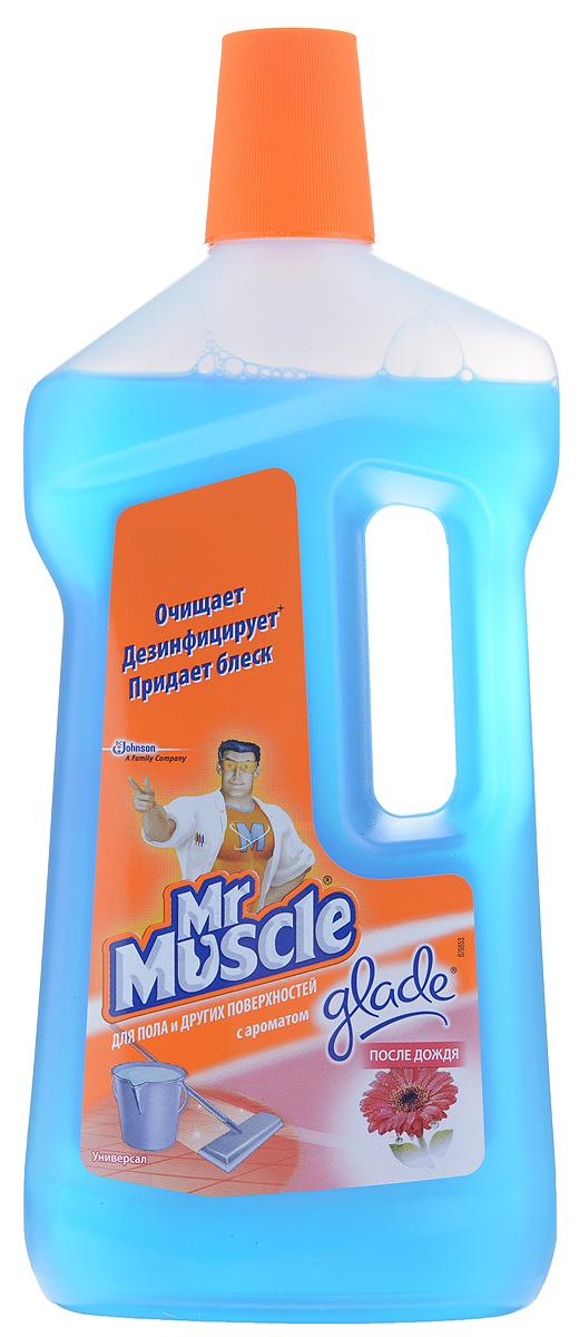 Чистящее средство для пола и других поверхностей Mr. Muscle Универсал, после дождя, 750 мл68/5/3Чистящее средство для пола и других поверхностей Mr. Muscle Универсал сочетает в себе моющую силу Mr. Muscle и восхитительные ароматы Glade. Быстро и эффективно удаляет грязь, не оставляя разводов. Подходит для мытья деликатных поверхностей: паркета, ламината, лакированных поверхностей, натурального камня и т.д. Мгновенный результат - сияющая чистота, свежесть и приятный аромат во всем доме. Идеально подходит для мытья полов, кафеля, кухонных столешниц, раковин и любых других поверхностей в вашем доме.Состав: вода, н-ПАВ, отдушка, алкилдиметилбензиламмоний хлорид, консервант, краситель. Товар сертифицирован.