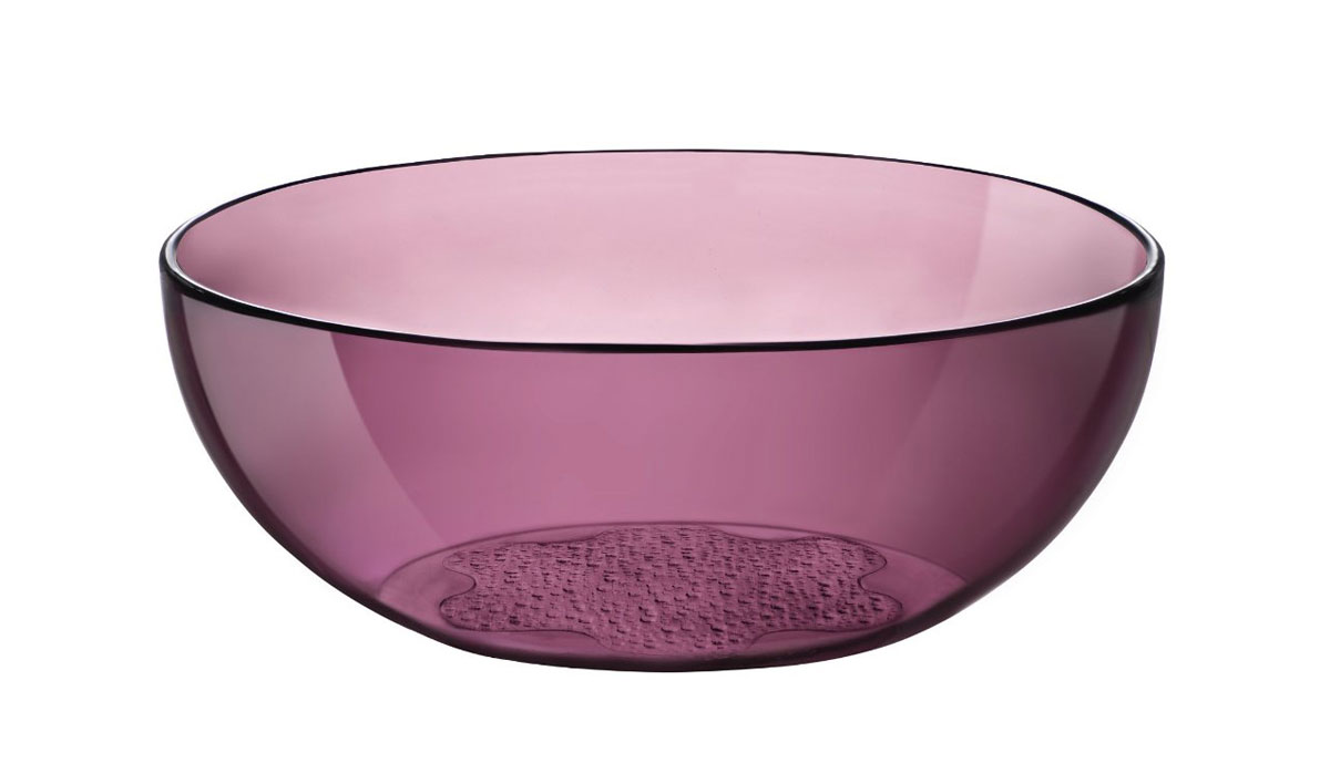 Салатник Bormioli Rocco Hya Purple, цвет: бордовый, диаметр 23 см2293326Салатник Bormioli Rocco Hya Purple выполнен из высококачественного стекла. Дно изделия с внешней стороны оформлено рельефным рисунком. Функциональный и вместительный, такой салатник станет достойным дополнением к вашему кухонному инвентарю.Диаметр салатника по верхнему краю: 23 см.Высота стенки салатника: 8,5 см.