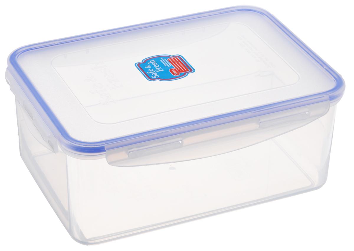 Контейнер пищевой Tek-a-Tek Safe & Fresh, цвет: прозрачный, синий, 2,3 лVT-1520(SR)Пищевой контейнер Tek-a-Tek Safe & Fresh выполнен из высококачественного пластика, устойчивого к высоким температурам. Контейнер предназначен для хранения продуктов питания, а также для замораживания и размораживания в микроволновой печи. Изделие оснащено четырехсторонними петлями-замками и силиконовой прокладкой на внутренней стороне крышки, что позволяет сохранять герметичность.Изделие абсолютно нетоксично при любом температурном режиме. Можно использовать в посудомоечной машине до +120°С, в микроволновой печи (без крышки), в морозильной камере -40°С.