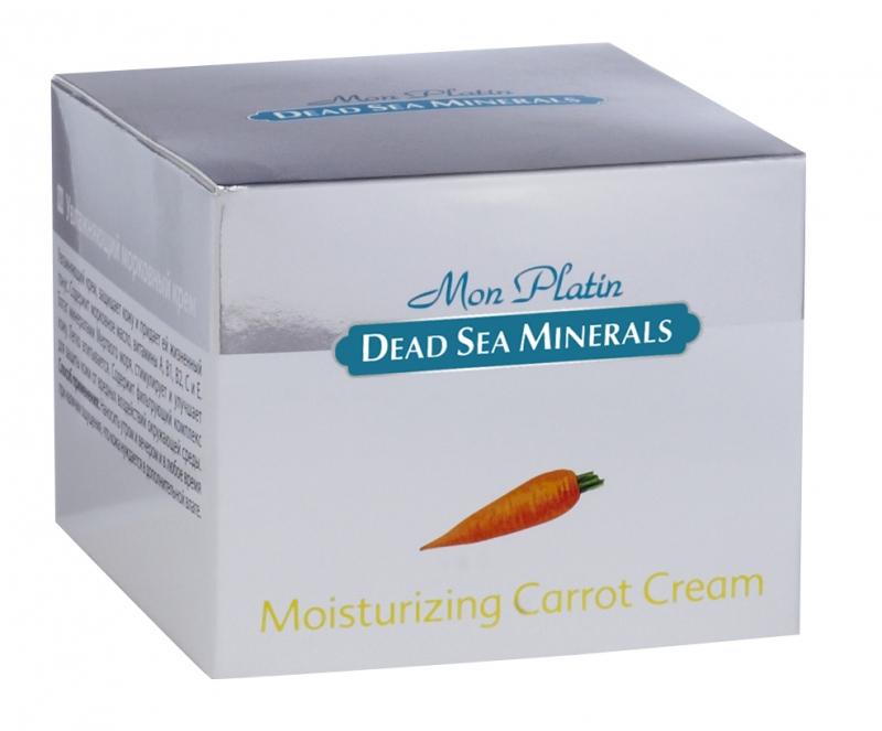 Mon Platin DSM Увлажняющий морковный крем 50 мл25004Морковный крем имеет богатейший состав витаминов (А, В, С, Е), которые усиливают действие друг друга. Обладает мягкой приятной консистенцией и нежной отдушкой. Крем насыщен Минералами и солью Мертвого моря, что благоприятно влияет на питание кожи и обладает омолаживающим и регенерирующим эффектом. Витамины Е, А, С укрепляют мембраны клеток, существенно замедляет процесс старения кожи, стимулирует кожное дыхание и кровообращение, повышают упругость и иммунитет кожи. Масло моркови оказывает противовоспалительное, смягчающее, дезинфицирующее и питательное действие. Восстанавливает здоровый цвет кожи, препятствует появлению морщин. Для ежедневного применения. Для всех типов кожи.