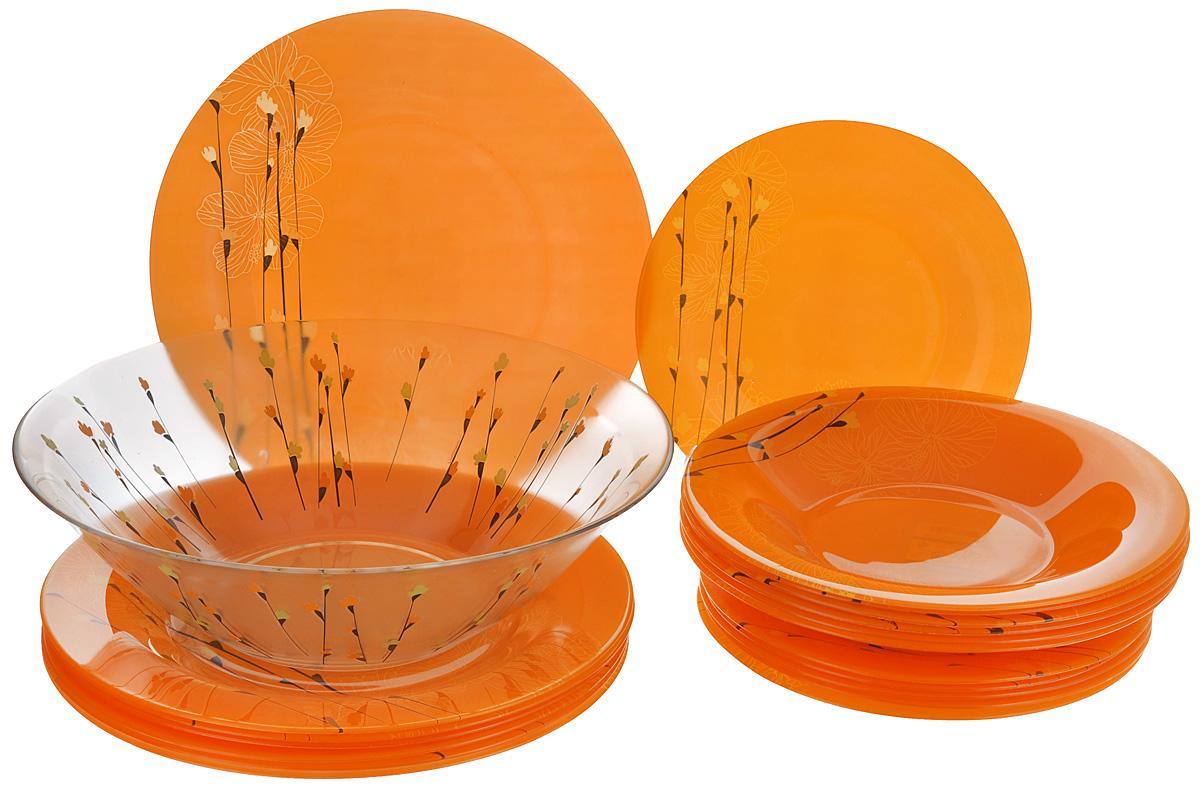 Набор столовый Luminarc Rhapsody, цвет: оранжевый, 19 предметовFS-91909Столовый набор Luminarc Rhapsody состоит из 6 суповых тарелок, 6 обеденных тарелок, 6 десертных тарелок и глубокого салатника. Изделия выполнены из ударопрочного стекла, имеют яркий дизайн с красивым цветочным рисунком и классическую круглую форму. Посуда отличается прочностью, гигиеничностью и долгим сроком службы, она устойчива к появлению царапин и резким перепадам температур. Такой набор прекрасно подойдет как для повседневного использования, так и для праздников или особенных случаев. Столовый набор Luminarc - это не только яркий и полезный подарок для родных и близких, это также великолепное дизайнерское решение для вашей кухни или столовой. Изделия можно мыть в посудомоечной машине и использовать в СВЧ-печи. Диаметр суповой тарелки: 21,5 см. Диаметр обеденной тарелки: 25 см. Диаметр десертной тарелки: 19,5 см. Диаметр салатника: 27 см. Высота стенки салатника: 8 см.