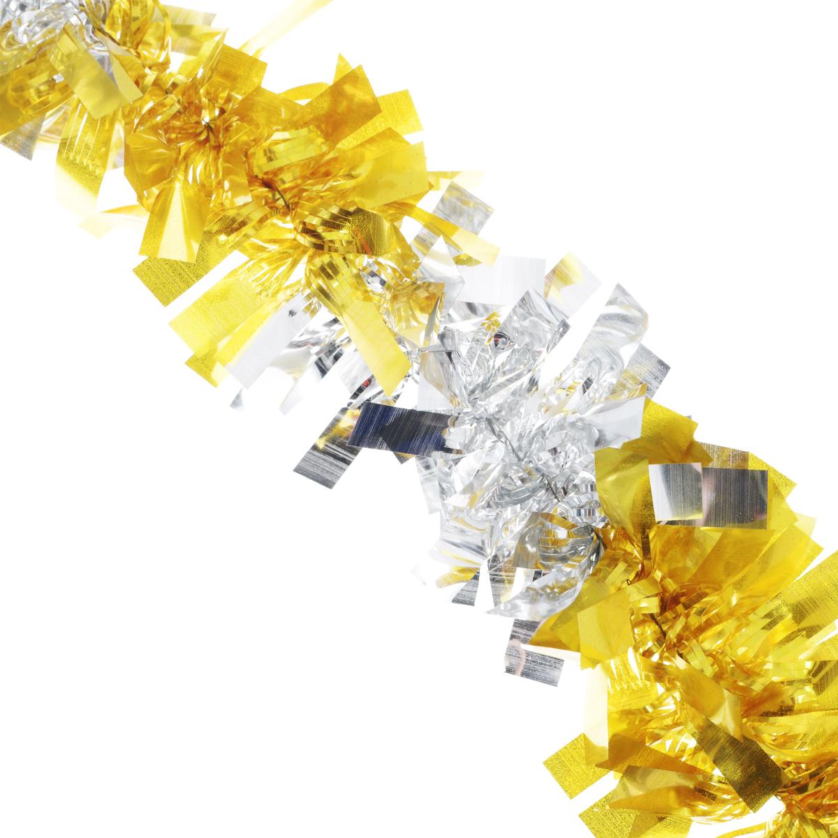 Мишура новогодняя EuroHouse Чудесница, цвет: желтый, серебристый, диаметр 6 см, длина 200 смC0038550Новогодняя мишура EuroHouse Чудесница, выполненная из ПЭТ (полиэтилентерефталата), поможет вам украсить свой дом к предстоящим праздникам. А новогодняя елка с таким украшением станет еще наряднее. Мишура армирована, то есть имеет проволоку внутри и способна сохранять придаваемую ей форму. Новогодней мишурой можно украсить все, что угодно - елку, квартиру, дачу, офис - как внутри, так и снаружи. Можно сложить новогодние поздравления, буквы и цифры, мишурой можно украсить и дополнить гирлянды, можно выделить дверные колонны, оплести дверные проемы.