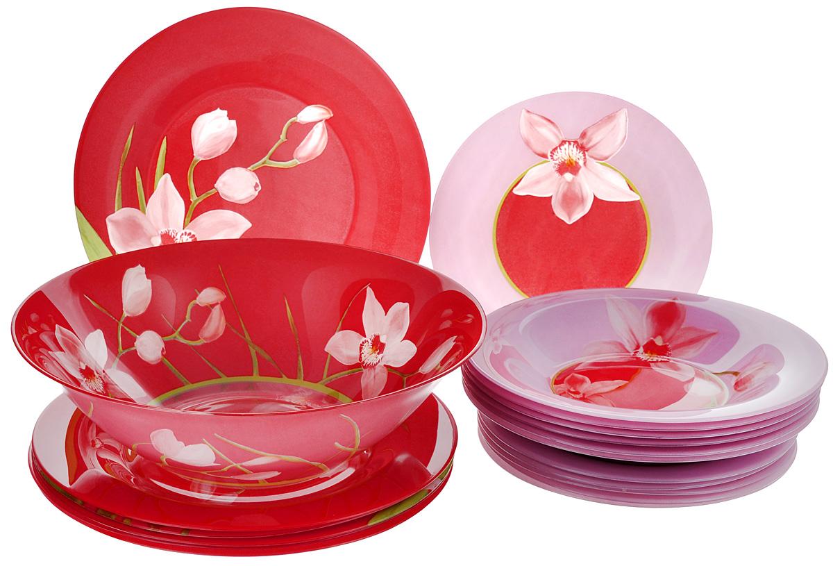 Набор столовый Luminarc Red Orchis, 19 предметов10053Столовый набор Luminarc Red Orchis состоит из 6 суповых тарелок, 6 обеденных тарелок, 6 десертных тарелок и глубокого салатника. Изделия выполнены из ударопрочного стекла, имеют яркий дизайн с красивым цветочным рисунком и классическую круглую форму. Посуда отличается прочностью, гигиеничностью и долгим сроком службы, она устойчива к появлению царапин и резким перепадам температур. Такой набор прекрасно подойдет как для повседневного использования, так и для праздников или особенных случаев. Столовый набор Luminarc - это не только яркий и полезный подарок для родных и близких, это также великолепное дизайнерское решение для вашей кухни или столовой. Изделия можно мыть в посудомоечной машине и использовать в СВЧ-печи. Диаметр суповой тарелки: 21,5 см. Диаметр обеденной тарелки: 25 см. Диаметр десертной тарелки: 19,5 см. Диаметр салатника: 27 см. Высота стенки салатника: 8 см.